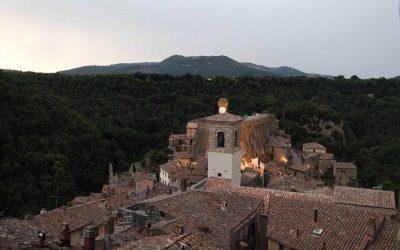 Panorama dalle camere dell'Hotel della Fortezza a Sorano, Toscana