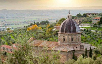 Chiesa di Santa Maria delle Grazie al Calcinaio a Cortona e vista sulla Valdichiana