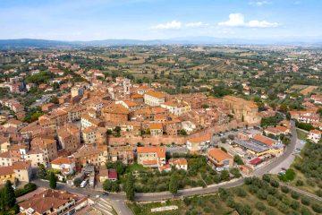 Vista aerea del centro storico di Foiano della Chiana e della Valdichiana