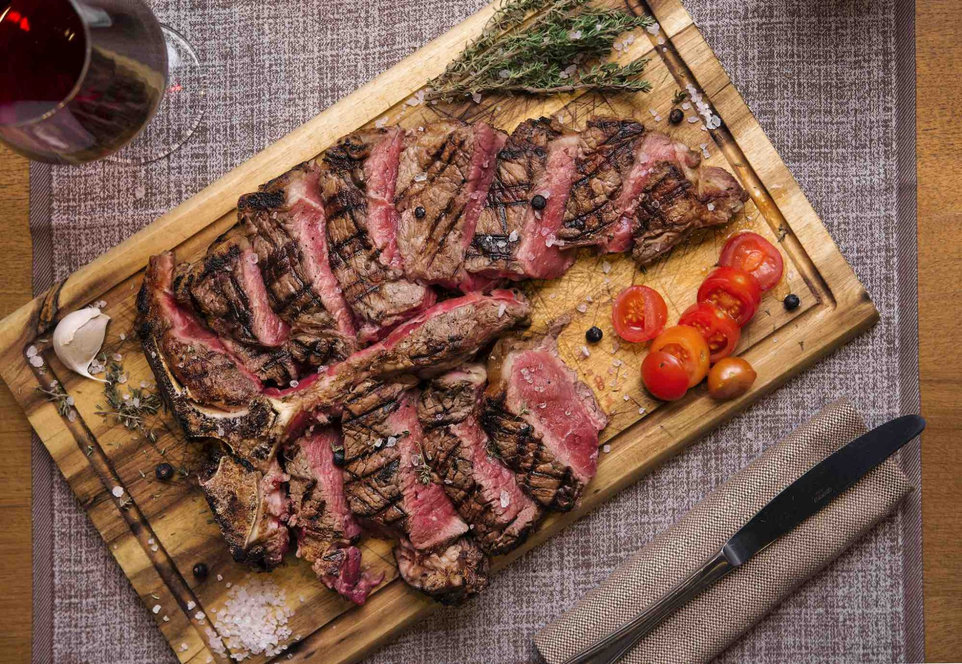 Tagliata di bistecca al ristorante Gustavino Piazza Signoria a Firenze