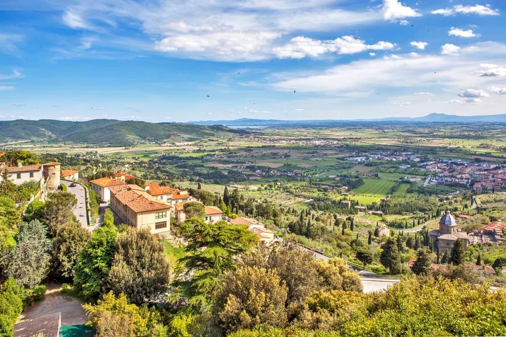 Vista sulla Valdichiana e Lago Trasimeno da Cortona