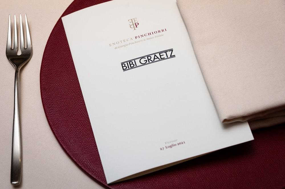 Menu per l'evento dedicato ai vini di Bibi Graetz all'Enoteca Pinchiorri