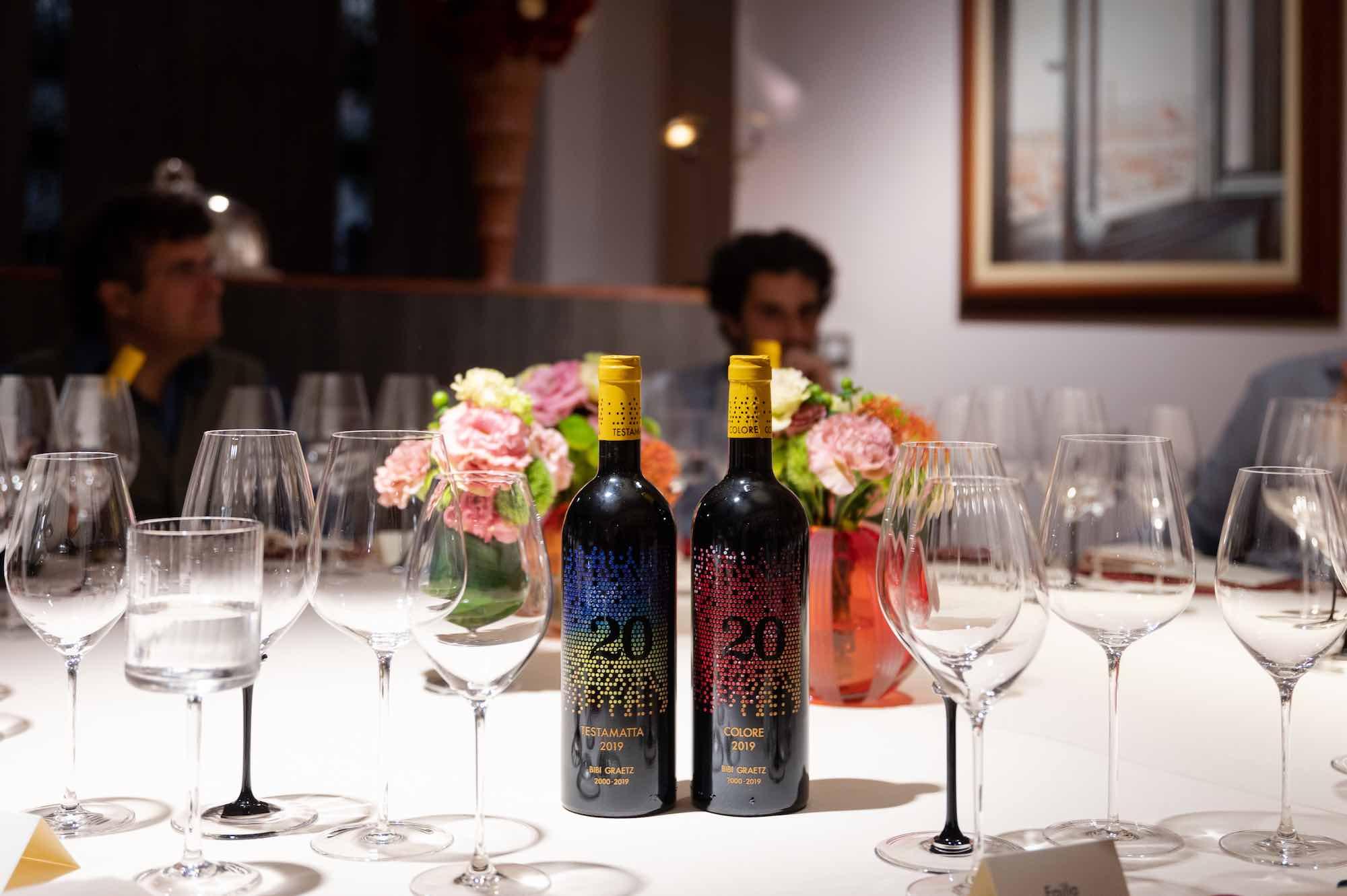 Bottiglie di Testamatta e Colore di Bibi Graetz per l'evento del 2021 all'Enoteca Pinchiorri